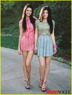 sisters, long straight hair, mini-skirts, homemade clothing ...