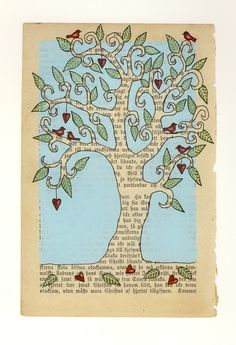 QK or Sizzix Tree Branches, Sm TB Leaves, Bird Design Art on vintage paper meets tree meets birds. Book Page Crafts, Book Page Art, Book Art, Altered Books, Altered Art, Scrapbooking Journal, Spray Paint Canvas, Newspaper Art, Elements Of Art
