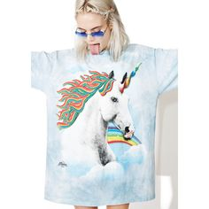 Rainbow Unicorn Oversize T-Shirt ($28) ❤ liked on Polyvore featuring tops, t-shirts, graphic design t shirts, slouchy t shirt, oversized t shirt, rainbow t shirt and slouchy tees