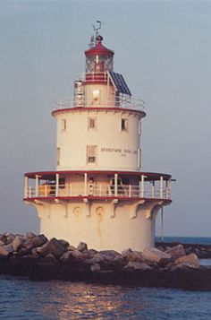 Brandywine Shoal Lighthouse (Lewes, Delaware) was established in 1823.  The present tower was built in 1914.