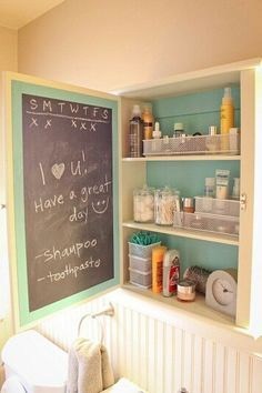 Paint the inside door of medicine cabinet--good place to keep the kids medicine measurements for babysitters or family helpers