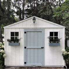 Every thought about how to house those extra items and de-clutter the garden? Building a shed is a popular solution for creating storage space outside the house. Whether you are thinking about having a go and building a shed yourself Painted Garden Sheds, Painted Shed, Wooden Garden, Backyard Sheds, Outdoor Sheds, Backyard Retreat, Garden Buildings, Garden Structures, Posh Sheds