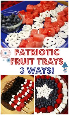 Patriotic Fruit Trays - 3 Ways! Easy to make red, white, and blue fruit platters for the summertime. Fruit Recipes, Summer Recipes, Easy Dinner Recipes, Holiday Recipes, Dessert Recipes, Party Recipes, Picnic Recipes, Holiday Desserts, Dessert Ideas