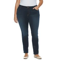 Plus Size Gloria Vanderbilt Bridget Straight-Leg Jeans, Women's, Size: 22 - regular, Med Blue