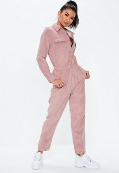 a blush cord long sleeve jumpsuit in a utility style featuring a button front, elasticated waist and front and side pockets. Playsuit Romper, Black Jumpsuit, Jumpsuits For Women, Missguided, Going Out, What To Wear, Fashion Outfits, Sport Fashion, Women's Fashion