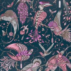 This Emma J Shipley Animalia Audubon Wallpaper features hand-painted style tropical birds, insects and branches in pink and purple with metallic touches on a matte blue background