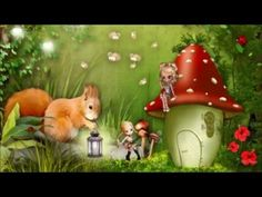 Squirrel Brings the Light Fairy Wallpaper, Kids Wallpaper, Fairy Land, Fairy Tales, Miniature Furniture, Squirrel, Creations, Miniatures, Christmas Ornaments