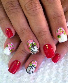 D'Shirley Abarca Nails 3d Nail Art, 3d Nails, Acrylic Nails, Spring Nail Art, Spring Nails, Finger, Autumn Nails, Flower Nails, Nail Art Designs