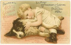 German Cologne advertisement. Child and dog.