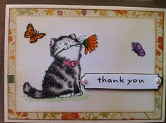 """Penny black """"in the garden"""" stamp set, copics and distress ink."""