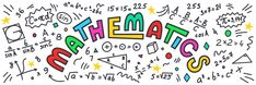 Mathematics Maths Doodles With Colorful Lettering On White Background Wall Mural, Textures Themed Premium Canvas Wall Art, Standard Peel & Stick | Limitless Walls