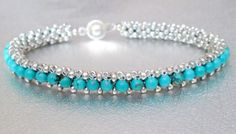 A beautiful natual turquoise stone and sterling silver seed beaded bracelet handcrafted one little bead at a time. This pretty bracelet has a