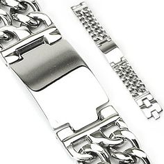 Big, bold style meets downtown edge with our cool, double chain, Silver Nova bracelet. Created in solid, stainless steel, the wide dual-tone center plate adds creativity to the classic design and is e
