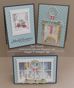 Stampin' Up! - Hearth and Home and Fireside cards .... Teri Pocock - http://teriscraftspot.blogspot.co.uk/2015/11/more-hearth-home-with-white-christmas.html