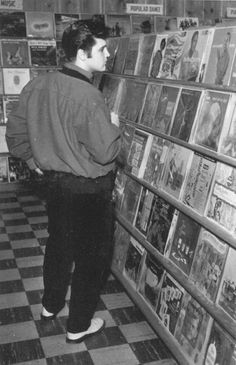 King of rock in a Record Store. Memphis, 1957
