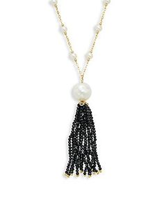 Effy Yellow Gold, Freshwater Pearl and Black Spinel Tassel Necklace Tassel Necklace, Pendant Necklace, Black Spinel, Tassels, Beading, Jewelry Making, Pearls, Crystals, Yellow