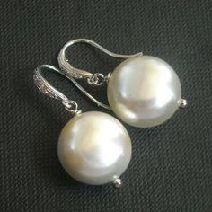 Bridal pearl earrings,Bridal jewelry, Pearl bridal jewelry, Wedding jewelry, Sterling silver