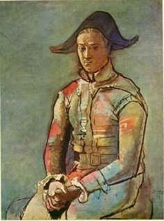 Seated harlequin (Jacinto Salvado) Artist: Pablo Picasso Completion Date: 1923 Style: Post-Impressionism Period: Neoclassicist & Surrealist Period Genre: portrait Dimensions: x 97 cm Henri Rousseau, Henri Matisse, Kunst Picasso, Art Picasso, Picasso Paintings, Picasso Drawing, Paul Gauguin, Picasso And Braque, Cubist Movement