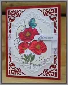 Spectrum Noir Markers & Penny Black Red Tango & Spellbinders Card Creator A2 Devine Eleoquence