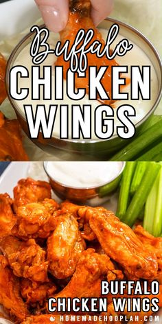 Perfect for a party, these restaurant-style buffalo chicken wings are baked to crispy perfection (no deep frying!) and then coated in spicy buffalo sauce. Chicken Wing Sauces, Crispy Chicken Wings, Deep Fryer Chicken Wings, Best Baked Chicken Wings, Chicken Wing Flavors, Crispy Baked Chicken Wings, Spicy Fried Chicken, Thai Chicken, Baked Buffalo Wings