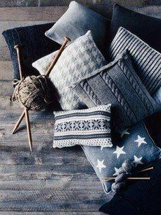 Winter Knit Pillows. Cozy, Fuzzy-Wuzzy Fun. #DDO - Daily Design Obsession #DIStudio