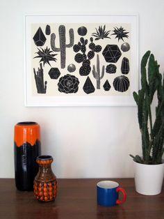 Black Cactus Print.   (more information more cactus)