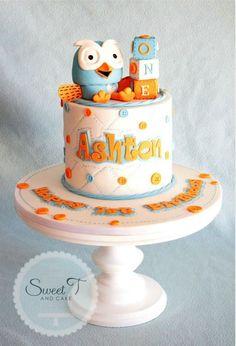 cake height & blocks Sweet T & Cake Hoot Cake Boys 1st Birthday Party Ideas, Birthday Party Design, 1st Birthday Cakes, Leo Birthday, Girly Cakes, Fancy Cakes, Fondant Cakes, Cupcake Cakes, Owl 1st Birthdays