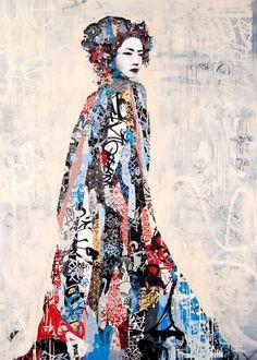 Hush, Twin Light II, 2011, acrylic paint, screen print, spray paint, ink