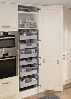 24 Super Fresh & Clever Kitchen Storage Ideas in 2018 Kitchen Storage Ideas for… – Kitchen Pantry Cabinets Designs Update Kitchen Cabinets, Kitchen Cabinetry, Kitchen Larder Cupboard, Kitchen Countertops, Kitchen Pull Out Drawers, Ikea Kitchen Drawers, Kitchen Cabinet Shelves, Airing Cupboard, Pull Out Pantry