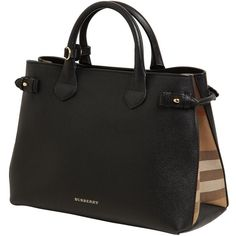 Burberry Women Medium Banner Leather & House Check Bag (€1.540) ❤ liked on Polyvore featuring bags, handbags, shoulder bags, black, burberry purses, burberry shoulder bag, shoulder strap bags, snap purse and genuine leather purse