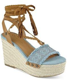 d4a9cac00d1 Tommy Hilfiger Lovelle Lace-Up Platform Wedge Sandals - Blue 7.5M Tommy  Shop