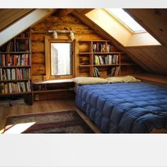 tiny alaska cabin 004 Folks Living the Simple Life in Tiny Cabin in Alaska - Tips Home Decor Attic Bedroom Designs, Attic Bedrooms, Bedroom Loft, Bedroom Ideas, Loft Room, Bedroom Decor, Attic Design, Bedroom Rustic, Bedroom Small