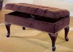 Dark Brown Microfiber Storage Bench with Nailhead Trim  Tufted Buttons *** Click image to review more details. (Amazon affiliate link)