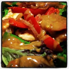 Char- grilled chicken with satay sauce and salad - 12wbt meal from Michelle Bridges