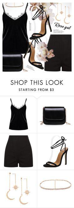 """ROSEGAL elegant black velvet & lace top"" by vn1ta ❤ liked on Polyvore"
