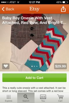 Baby boy onesie with attached vest, red bow tie, and leg warmers