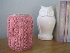 Ravelry: Jar Candle Cozy - Lace Rib pattern by Sasha Baugess