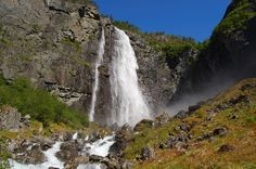 Waterfall Feigefossen in Luster, Norway.