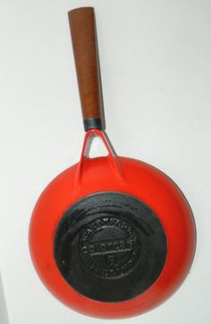 VINTAGE Orange Red Enamel COLORCAST WATERFORD CAST IRON 8 SKILLET FREE SHIPPING