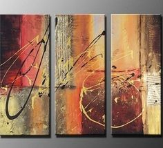 3 Pics Dancing Lines Abstract Modern Art 100% Hand Painted Oil Painting on Canvas Wall Art Deco Home Decoration (Unstretch No Frame) by galleryworldwide, http://www.amazon.com/dp/B0094XJQKY/ref=cm_sw_r_pi_dp_bMdUrb1X0386R