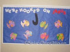 susan akins posted Hooked on Jesus - Fish Bulletin Board. to their -Preschool items- postboard via the Juxtapost bookmarklet. Fish Bulletin Boards, Religious Bulletin Boards, Christian Bulletin Boards, Summer Bulletin Boards, Preschool Bulletin Boards, Classroom Bulletin Boards, Classroom Themes, Bulletin Board Ideas For Church, Classroom Door