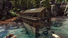 Ark, How to build a boathouse base, no mods Boat Building, Building Design, Building A House, Building Ideas, Ark Survival Evolved Bases, Game Ark, Forest Games, Best Build, Dinosaur Art