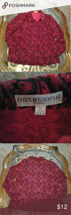 Notations size 2X women's jacket Notations jacket black and red size 2X zipper front notations  Jackets & Coats