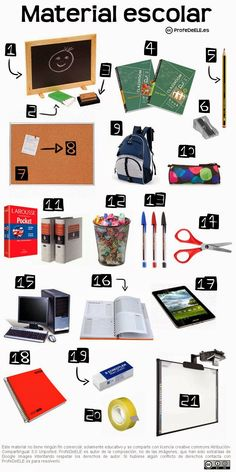 Vocabulario del material escolar: bit.ly/materialclase | Ficha de vocabulario y actividad online para aprender el léxico del material de la clase (nivel A1/A2) | Más materiales en www.ProfeDeELE.es