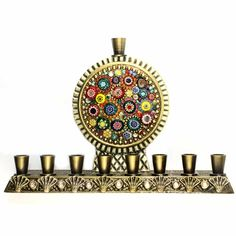 Just Exquisite, The detail is amazing Multicolor menorah w/ multi-bead millefiori, handmade at Michal Golan Studios USA