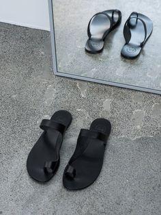 Simple Black Slip On Sandals