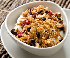 Homemade granola doesn't just taste great; it packs a hefty nutritional punch. It's chock-full of protein-rich nuts and seeds and this version even has wheat germ, a concentrated source of several essential nutrients and fiber. Add to that crispy clusters of old-fashioned oats, dried fruits, toasted coconut and golden honey and you've got a delicious power food.