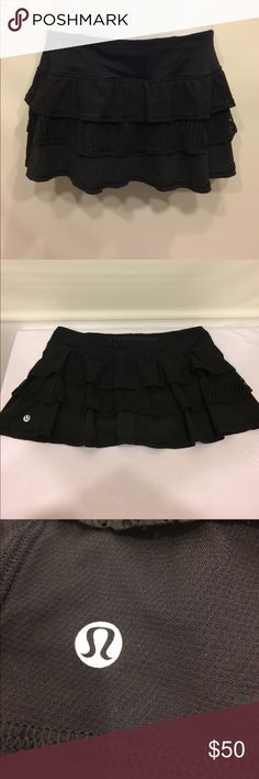 """Lululemon Athletica """"Nothing to Hide"""" Lace Skort Lululemon Athletica """"Nothing to Hide"""" Lace Skort in midnight. Size 6. Great condition, small pull on Lace in the back. lululemon athletica Skirts"""