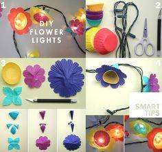 A simple but brilliant idea: flower shaped lights to color up your balcony!  --  Un'idea semplice ma brillante: le luci a forma di fiore per colorare il tuo balcone!  #lights #flowers #doityourself