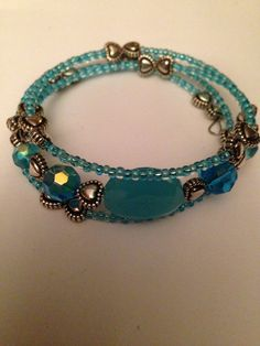 Beaded memory wire bracelet on Etsy, £5.00. New designs added today.